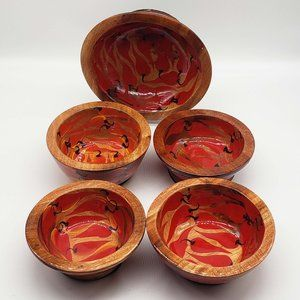 Mid Century hand painted lacquered wood bowl set 5